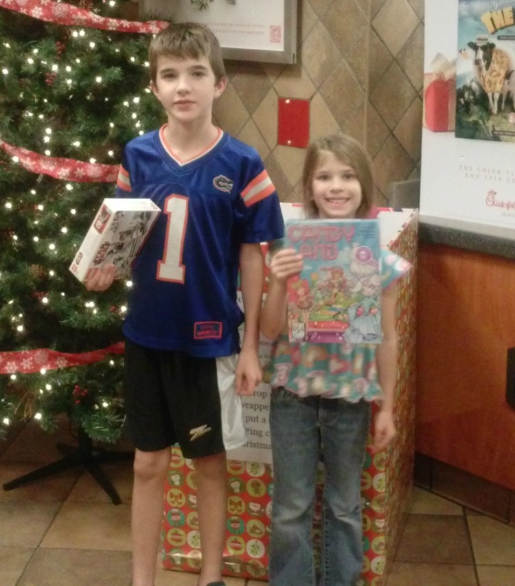 Toys for a local charity and a free Chick-Fil-A sandwich!