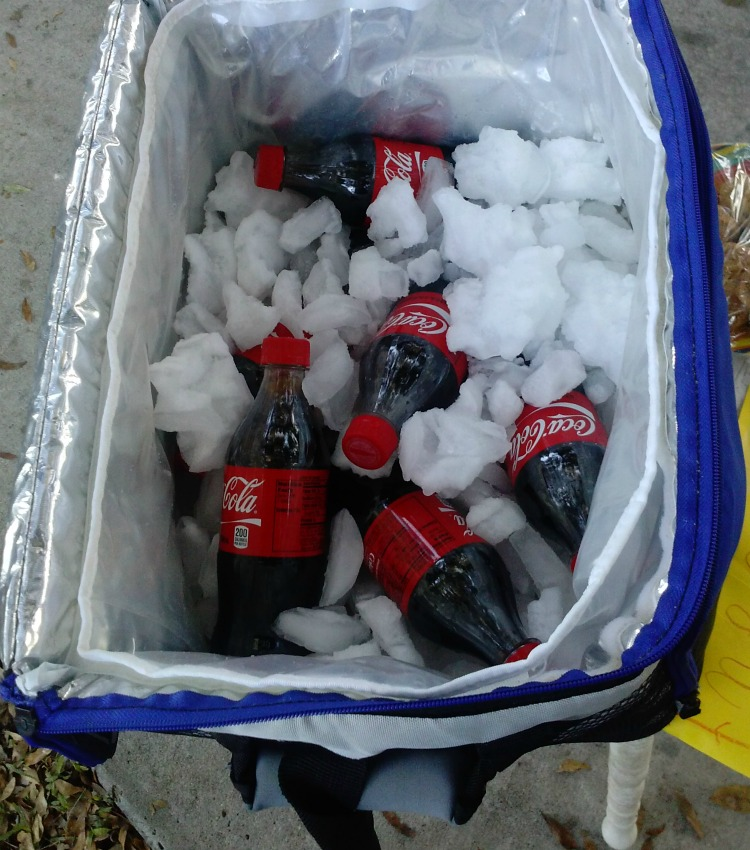 Cokes and cookies set out for our trash/recycling collectors