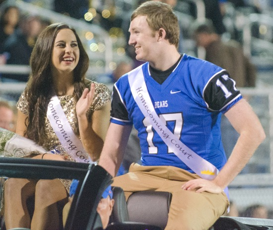 Aubrey, healthy and back in school, on the senior homecoming court