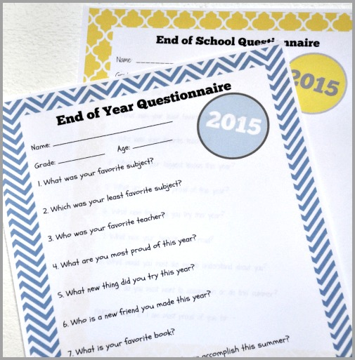 end of schoo year questionnaire blog