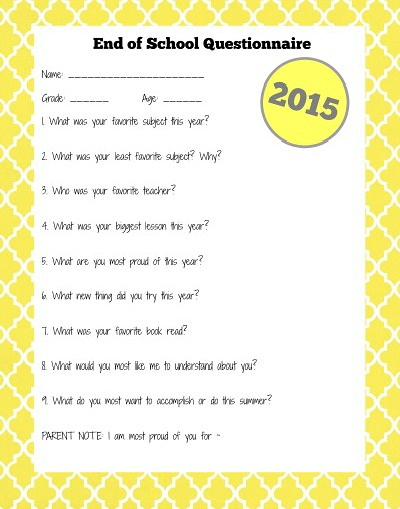 older child end of school year questionnaire pic