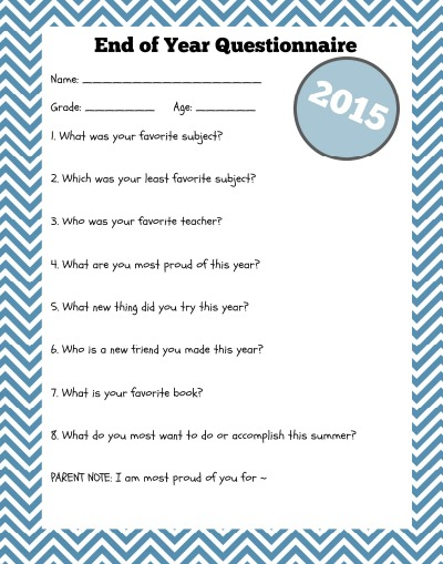 younger child end of school questionnaire pic