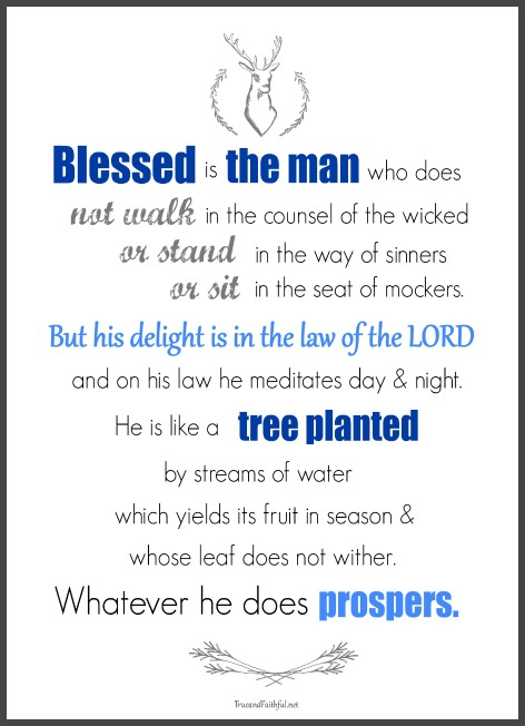 photo relating to Printable Man Card called Psalm 1 Printable and Fathers Working day Card - Accurate and Devoted