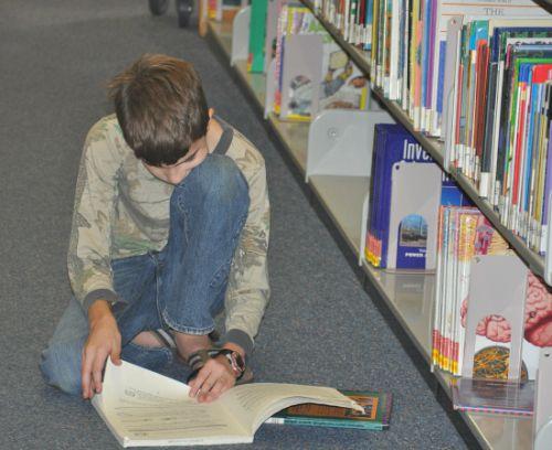 Matt reading library
