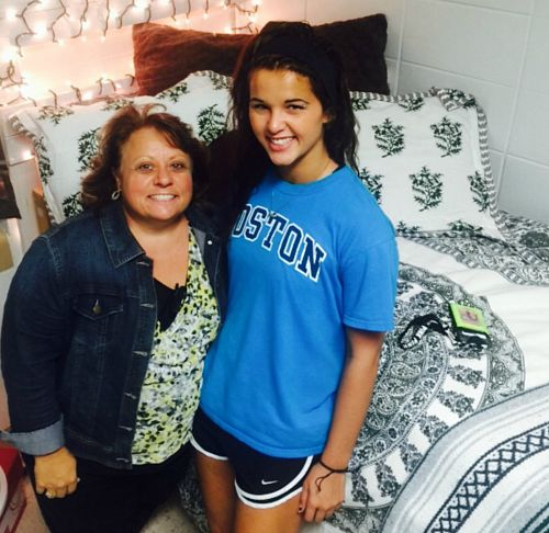 Martha Clark and her daughter, Martha Elizabeth, after getting her dorm room set up at college.