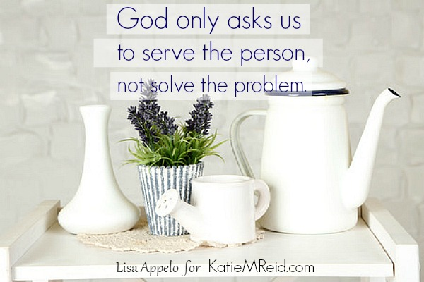 That nudge to respond can be risky ... the need overwhelming. But God doesn't ask us to solve, only to serve.