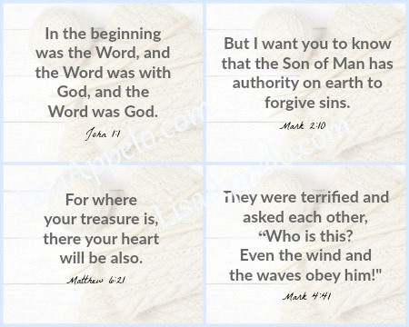 FREE printable scripture cards for the 100 Days with Christ Bible study and journal.